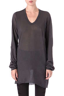 RICK OWENS Semi-sheer raw-hem top