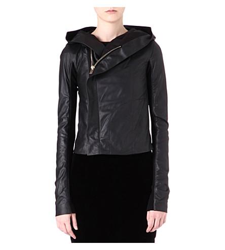 RICK OWENS Hooded leather jacket (Black
