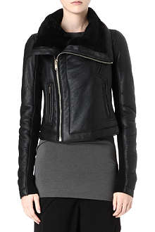 RICK OWENS Shearling leather biker jacket
