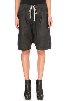 RICK OWENS Waxed cotton shorts