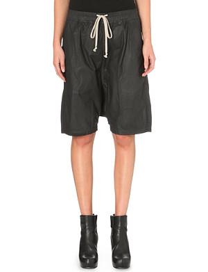 RICK OWENS Waxed cotton shorts
