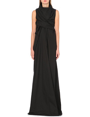 RICK OWENS Draped cotton maxi dress