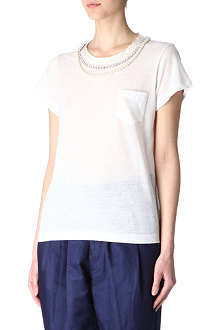 SACAI Pearl and crystal t-shirt