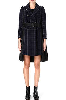 SACAI Wool-blend checked coat