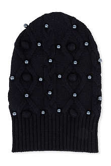 SACAI Pearl embellished cable-knit hat