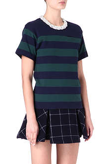 SACAI Embellished-collar striped top
