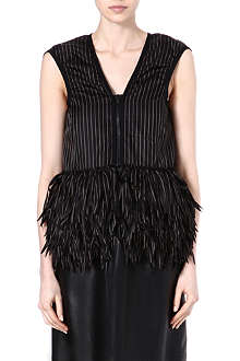 SACAI Sleeveless ruffle-detail jacket