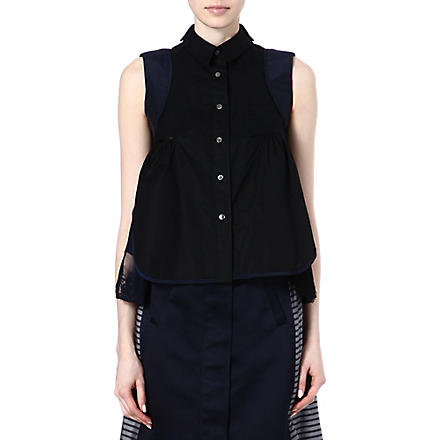SACAI Striped lace-detail top (Black/ navy
