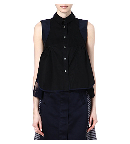 SACAI Striped lace-detail top (Black/ navy