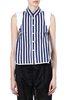 SACAI Striped lace-detail top