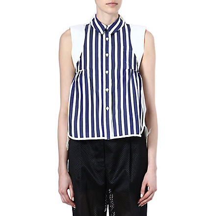 SACAI Striped lace-detail top (Stripe/ white