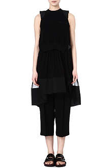 SACAI Sheer-skirt knitted dress