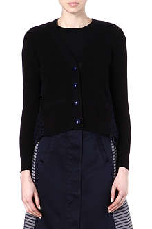 SACAI Lattice-effect cut out cardigan