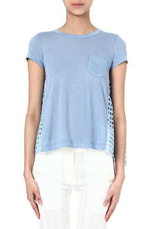 SACAI Cut-out linen t-shirt