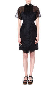 SACAI Collared mesh shirtdress