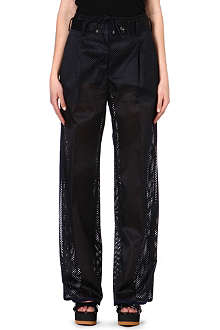 SACAI Perforated wide-leg trousers