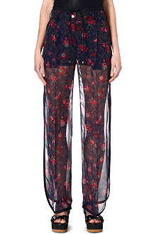 SACAI Sheer floral trousers