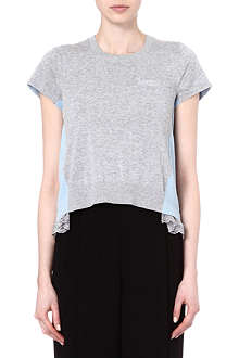 SACAI Cotton and silk knitted top