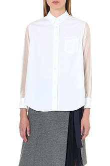 SACAI Sheer-panelled cotton-blend shirt