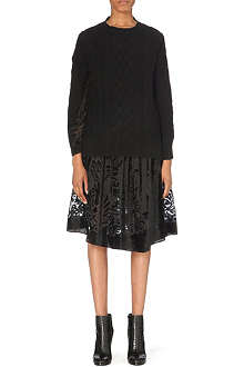 SACAI Knitted-front patterned dress