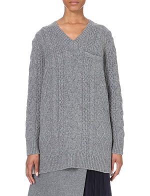 SACAI Oversized jumper with devore panel