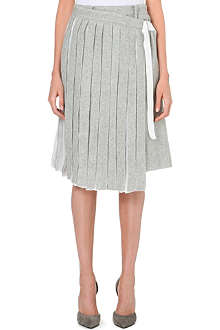 SACAI Skirt-overlay wool-blend trousers
