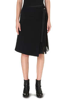 SACAI Pleated-panel wool-blend skirt