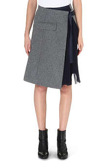 SACAI Sheer-pleat wool-blend skirt