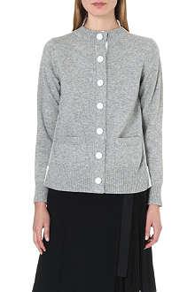 SACAI Contrast chiffon-back wool cardigan