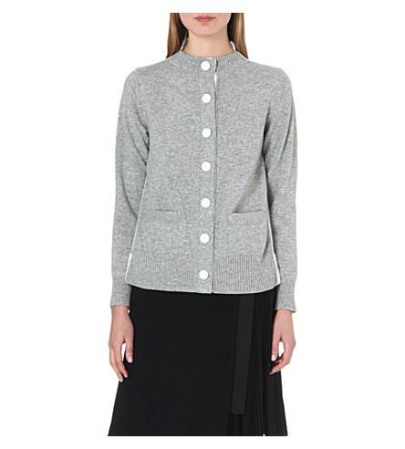 SACAI Contrast chiffon-back wool cardigan (L/grey