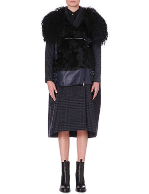 SACAI Sheerling collar wool-blend and leather coat