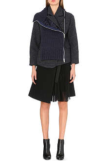 SACAI Chunky knit wool-blend mixed coat