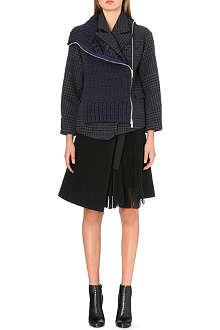 SACAI Chunky knit wool-blend mixed coat