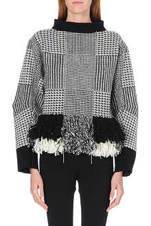 SACAI Houndstooth fringed wool jumper