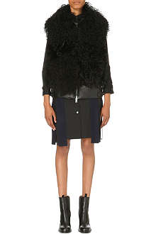 SACAI Shearling and leather biker gilet
