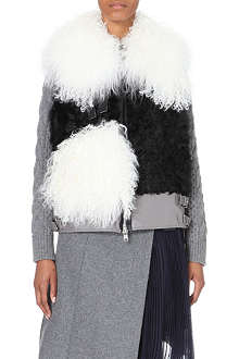 SACAI Shearling and leather gilet