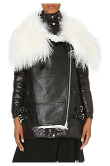 SACAI Quilted leather biker jacket with shearling collar