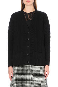 SACAI Cable-knit contrast panel cardigan