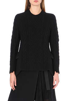 SACAI Cable-knit peplum detail jumper