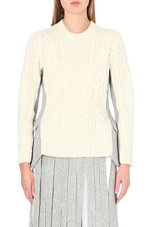 SACAI Peplum-detail cable-knit jumper