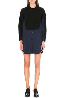 SACAI Cable-knit and cotton-blend shirt dress