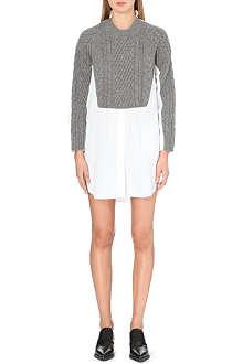 SACAI Cable-knit and cotton-blend shirt dress
