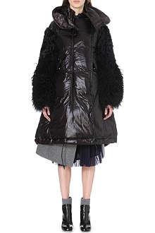 SACAI Shearling-sleeve padded shell coat