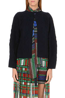 SACAI Printed-overlay cable-knit cardigan