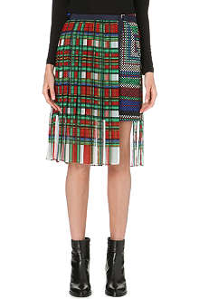 SACAI Pleat-overlay quilted skirt