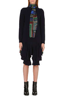 SACAI Chiffon-detail knitted dress