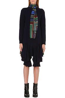 SACAI Chiffon-detail knitted dress