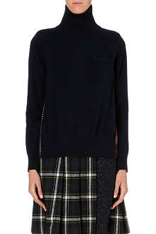 SACAI Contrast-back wool jumper