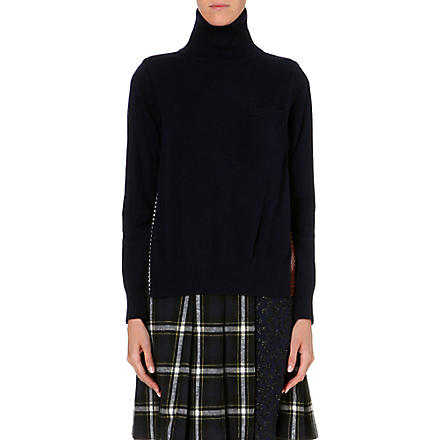 SACAI Contrast-back wool jumper (Navy