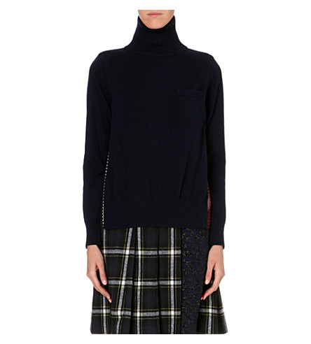 SACAI Contrast-back wool jumper (Navy